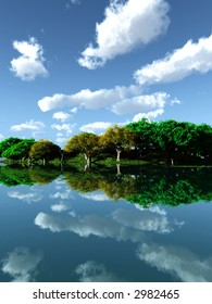 Green trees reflecting on a water surface - 3d scene.