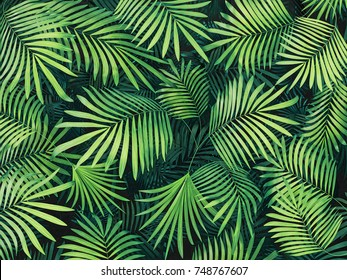 green tropical leaves background. 3d render illustration