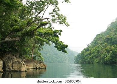 Green tropical rain forest and the reflection from water of the lake in Ba Be National Park, Bac Kan province, Vietnam