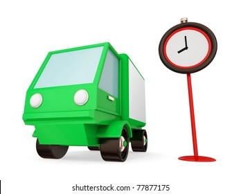 Green truck and red timer. Fast transportation concept. Isolated on white background. 3d rendered.