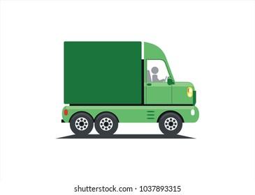 Green truck, transport