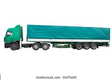 green truck under the white background