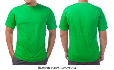 Green t-shirt mock up, front and back view, isolated. Male model wear plain green shirt mockup. Tshirt design template. Blank tee for print