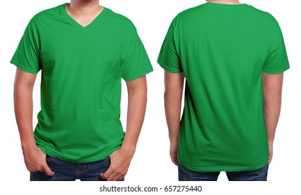 Green t-shirt mock up, front and back view, isolated. Male model wear plain green shirt mockup. V-Neck shirt design template. Blank tees for print