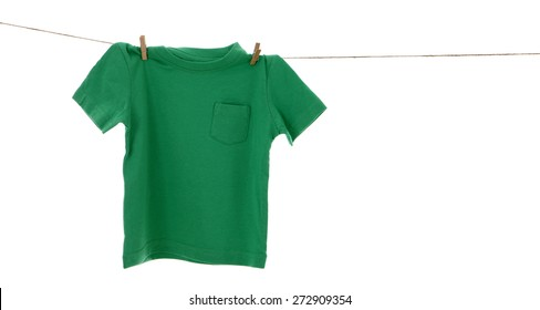 Green tshirt on clothes line