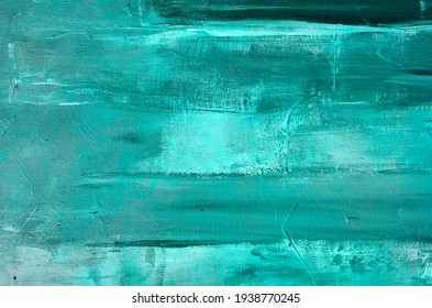 Green turquoise abstract oil painting on canvas