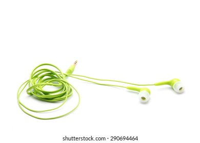 Green Twisted Headphones On Simple White Background