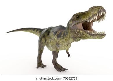 green tyrannosaurus is hungry