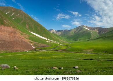 Green valey of Suusamyr Kyrgyzstan