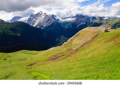 Green valley in Dolomites in summer.