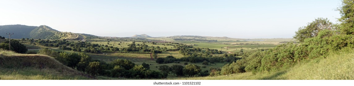 Green valley in Golan Heights in Israel
