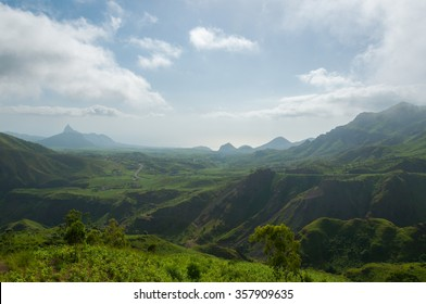 Green valley mountain hill with mist and fog cloud on cape verde island
