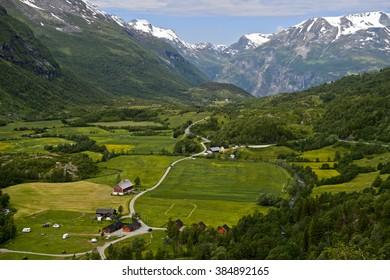 Green valley near Geiranger, Norway