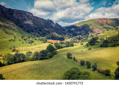 Green valley of Rhaeadr at bright summer day in Snowdonia National Park, UK