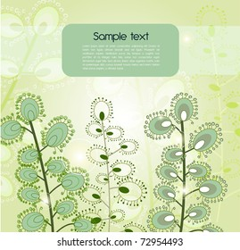 Green vector background with abstract fantastic plants