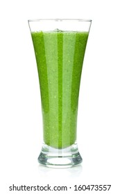 Green vegetable smoothie. Isolated on white background