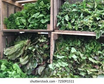 Green vegetables at farmers market