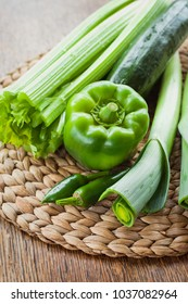 Green vegetables - Fresh ingredients for summer detox diet. Spring and summer products, seasonal vegetables to make your soup. The best from Garden market and farm shop.