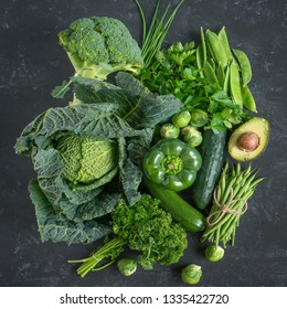 Green vegetables and herbs selection for a healthy nutrition concept
