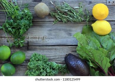 green vegetables & lemon