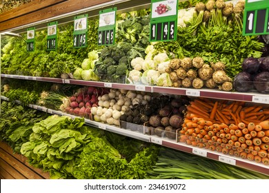 Green vegetables at a market stall