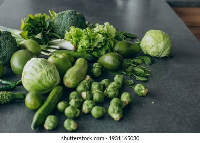 Green vegetables on table at kitchen