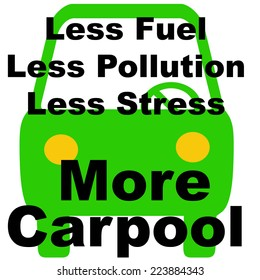 green vehicle on white background carpool poster illustration