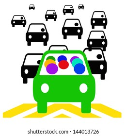 green vehicle with passengers in traffic illustration