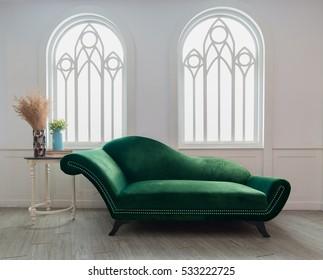 Green velvet armchair in living room