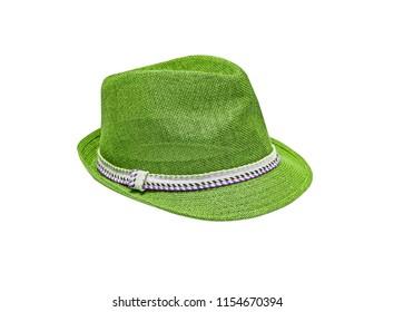 Green vintage straw children hat fasion. Isolated on white.