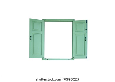 green vintage window isolated on white background