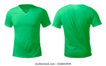 Green v-neck t-shirt mock up, front and back view, isolated. Male model wear plain green shirt mockup. V Neck shirt design template. Blank tees for print