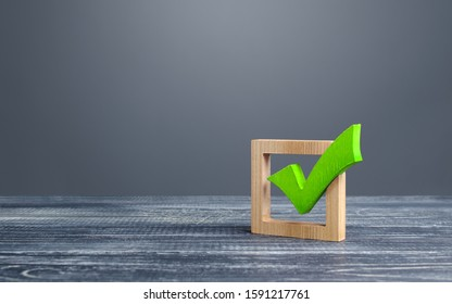 Green voting tick in a box. Checkbox. Democratic elections, referendum. The right to choose, change of power. Checklist for verification and self-discipline. Necessary quality criteria approval symbol
