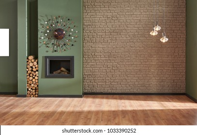 Green wall and brown brick wall background fireplace and modern object on the wall with frame decoration