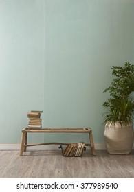 green wall desk and wooden floor interior decor