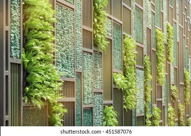 Green Wall with Vertical Demo Gardening in Warm Light Tone.