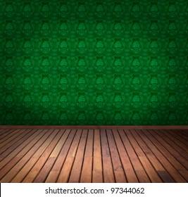 green wallpaper room