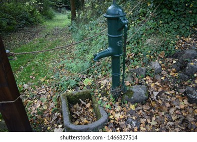 A green water pump in the late evening with lots of autumn leaves on the floor and green grass in the background.