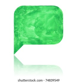 Green watercolor blank speech bubble with color reflection on white background