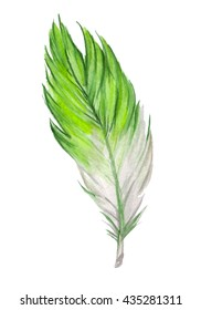 Green watercolor feather. Hand drawn watercolor green feather. Boho feather style. Raster illustration.