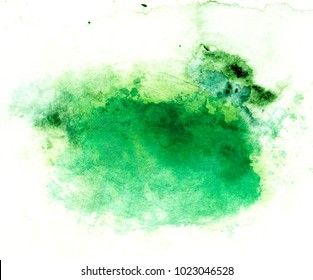 green watercolor on white