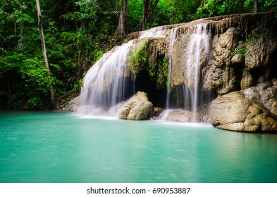 Green Waterfall in the part National Park in Thailand.