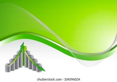 green wave chart business background illustration design