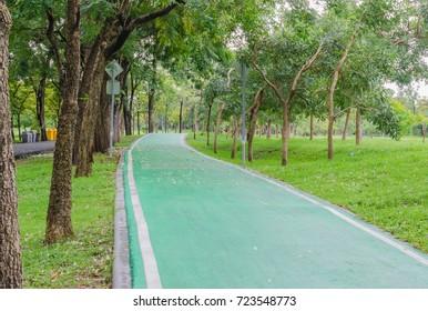 green way for bike in public park.