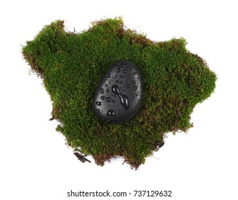 Green wet moss with black spa rocks and drops of water isolated on white background, top view