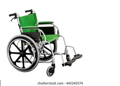 green wheelchair isolated on white background