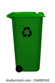 Green wheelie aka wheely bin for recyclable waste