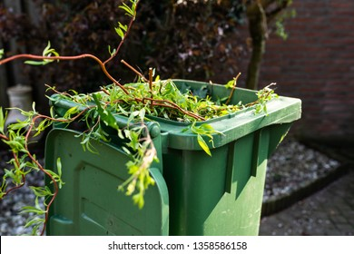 Green wheelie bin / garden waste container filled with fruit and vegetable waste, garden waste, organic waste for composting and fermentation. Recycling garbage for a better environment.