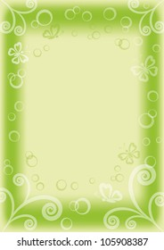 green and white background with butterflies, circles and figures