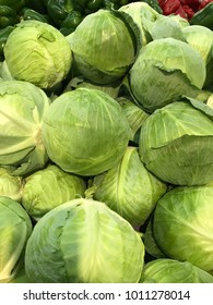 Green and white cabbage on the market